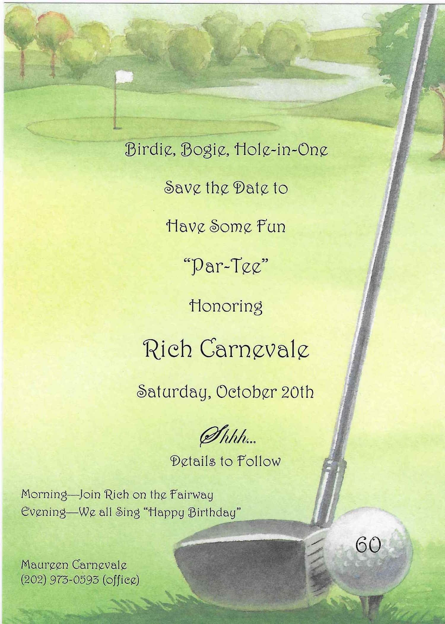 Golf Portion Of Rich's 60Th Birthday Party Invitationglad - Free Printable Golf Stationary