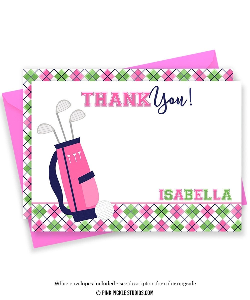 Golf Thank You Card Golf Thank You Golf Note Cards Golf | Etsy - Free Printable Golf Stationary