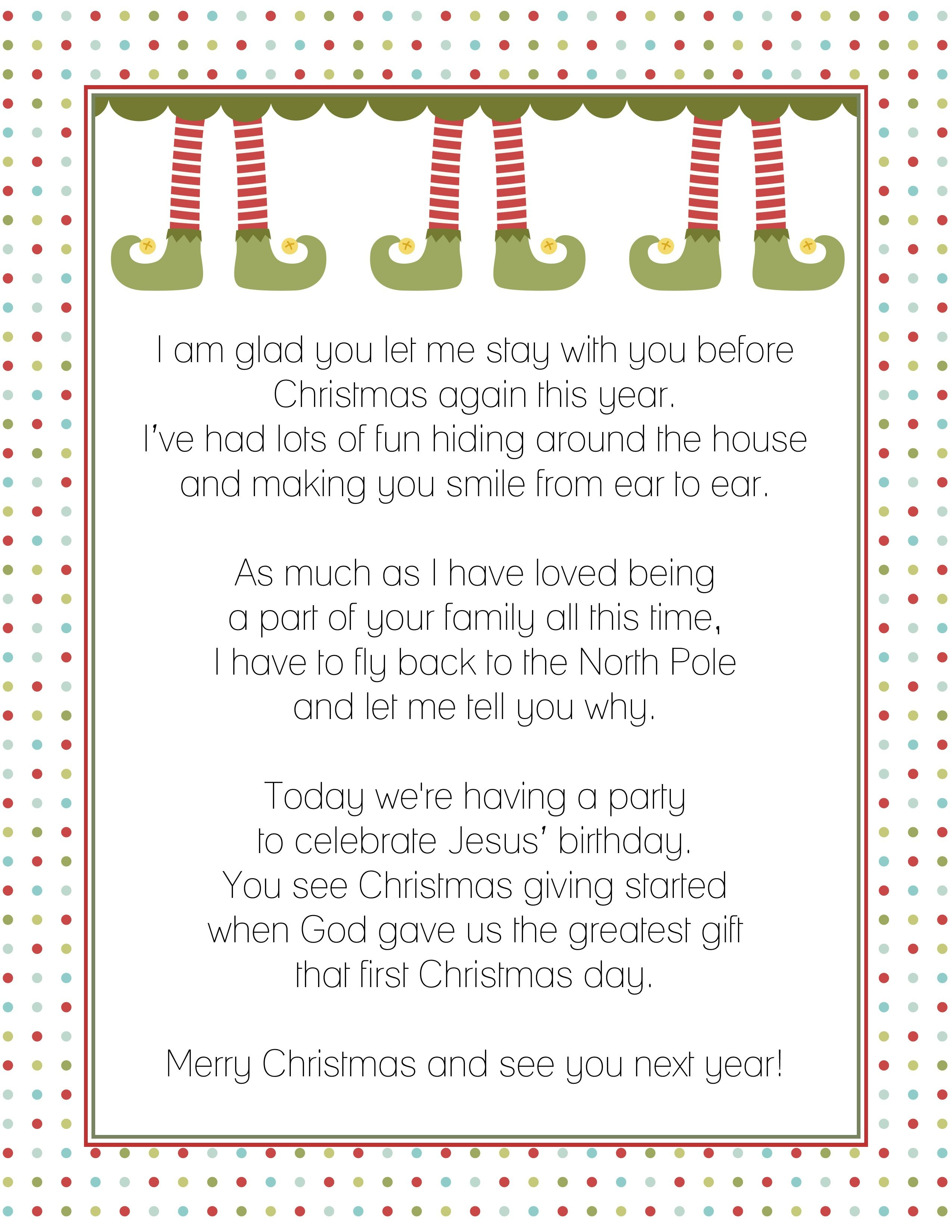 Goodbye Letter From The Elf On A Shelf   Christmas!   Elf Letters - Goodbye Letter From Elf On The Shelf Free Printable