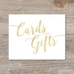 Gradient Gold Cards And Gifts Sign // Printable Wedding Card Sign   Cards Sign Free Printable