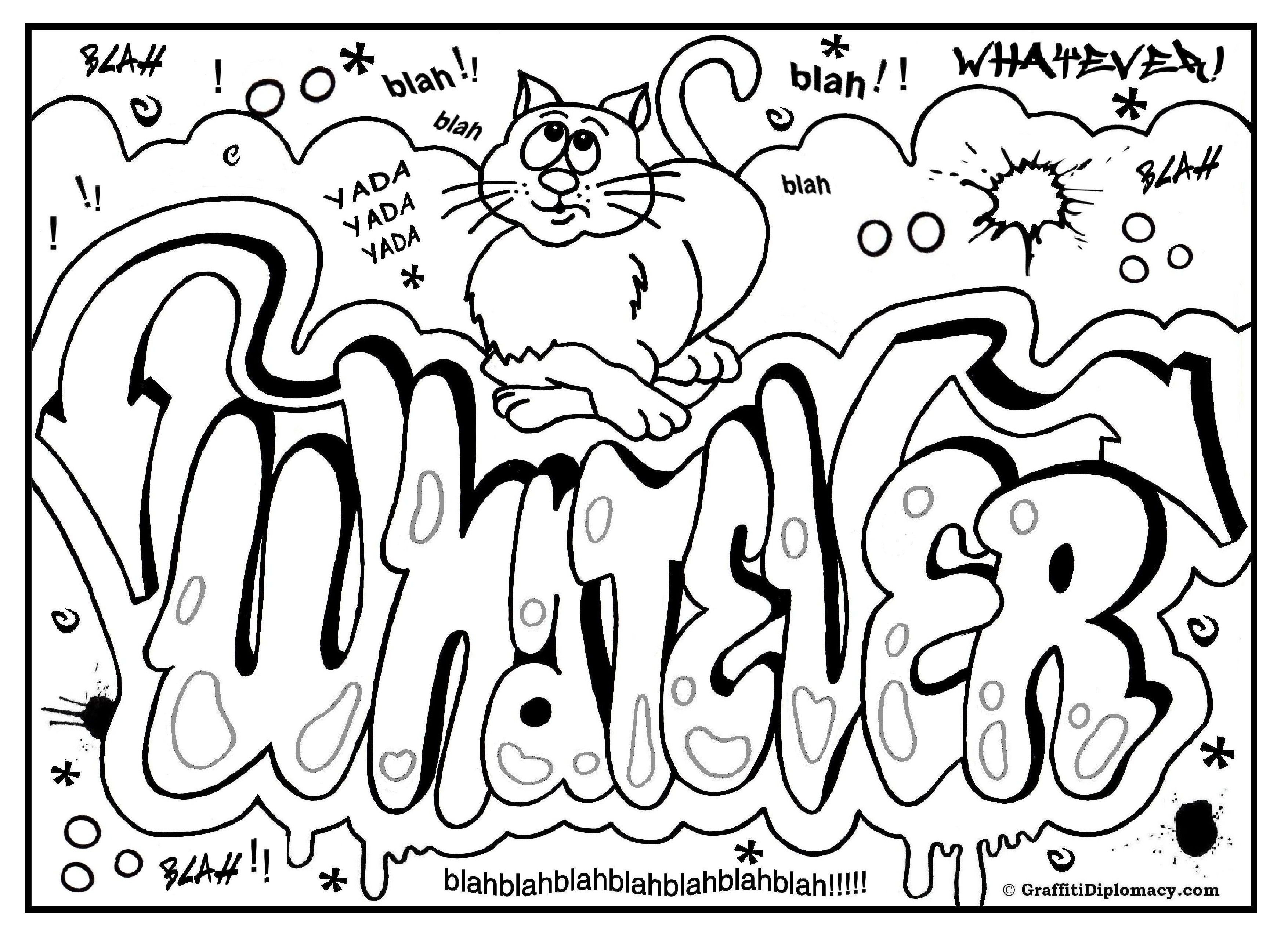 Graffiti Coloring Page, Free Printable Graffiti Room Signs | Free - Free Printable Coloring Pages For Adults Only Swear Words