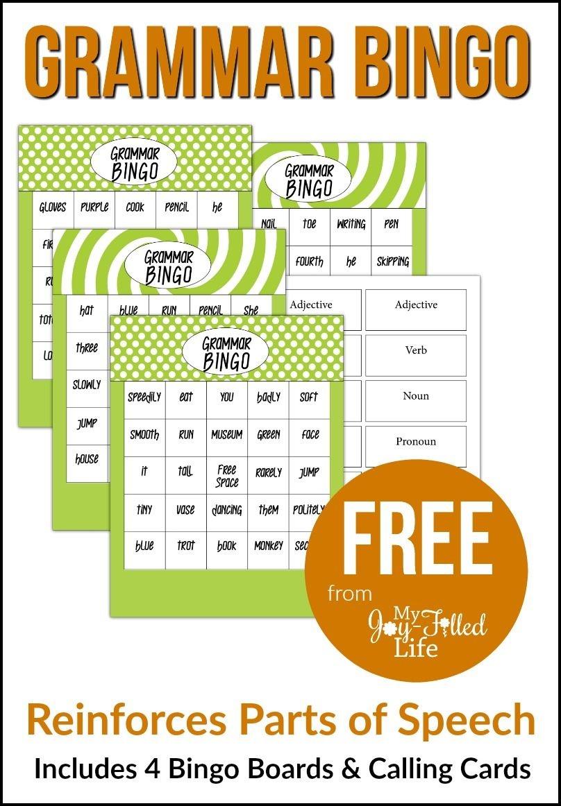 Grammar Bingo - Free Printable | Must Follow Faith & Family Bloggers - Free Printable Parts Of Speech Bingo
