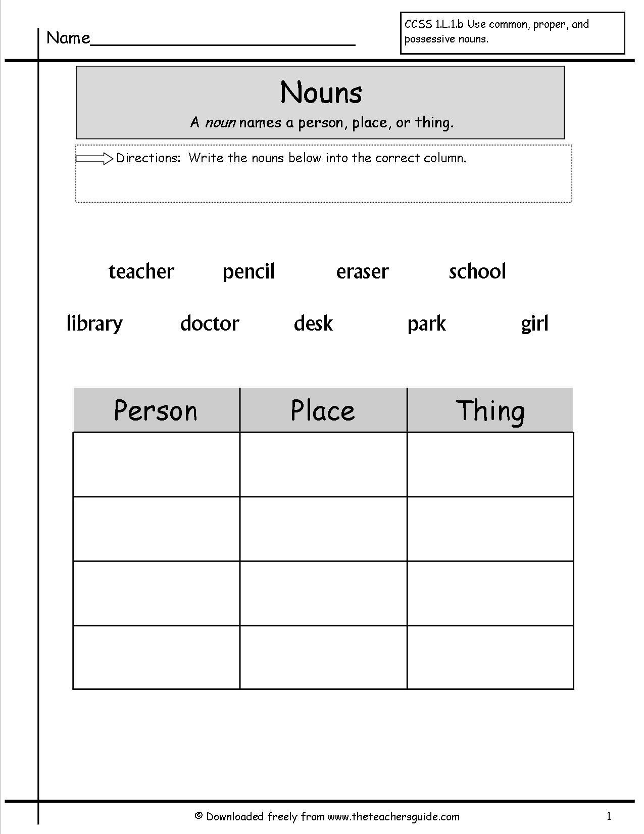 Grammer Printables | Nouns Worksheets Nouns Worksheets Identifying - Free Noun Printables