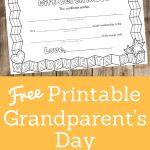 Grandparent's Day Certificate | Arts | Grandparent Gifts   Grandparents Certificate Free Printable