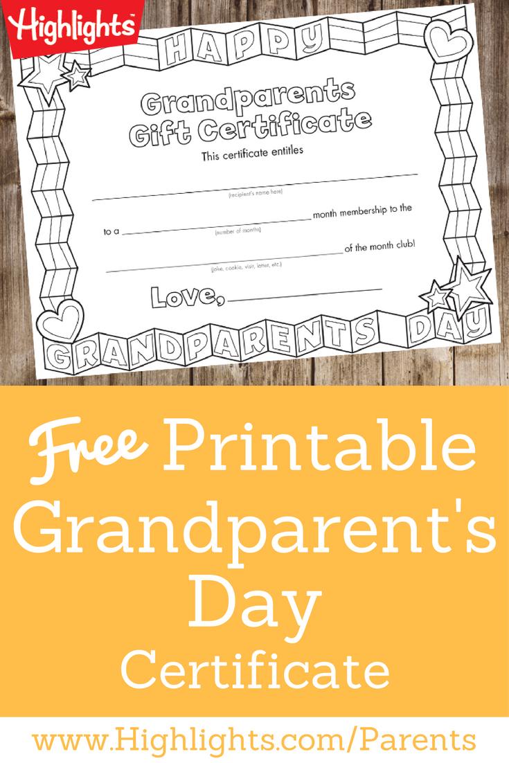 Grandparent's Day Certificate | Arts | Grandparent Gifts - Grandparents Certificate Free Printable