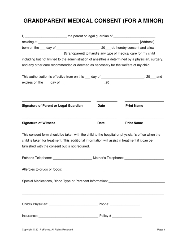 Grandparents' Medical Consent Form – Minor (Child) | Eforms – Free - Free Printable Medical Release Form