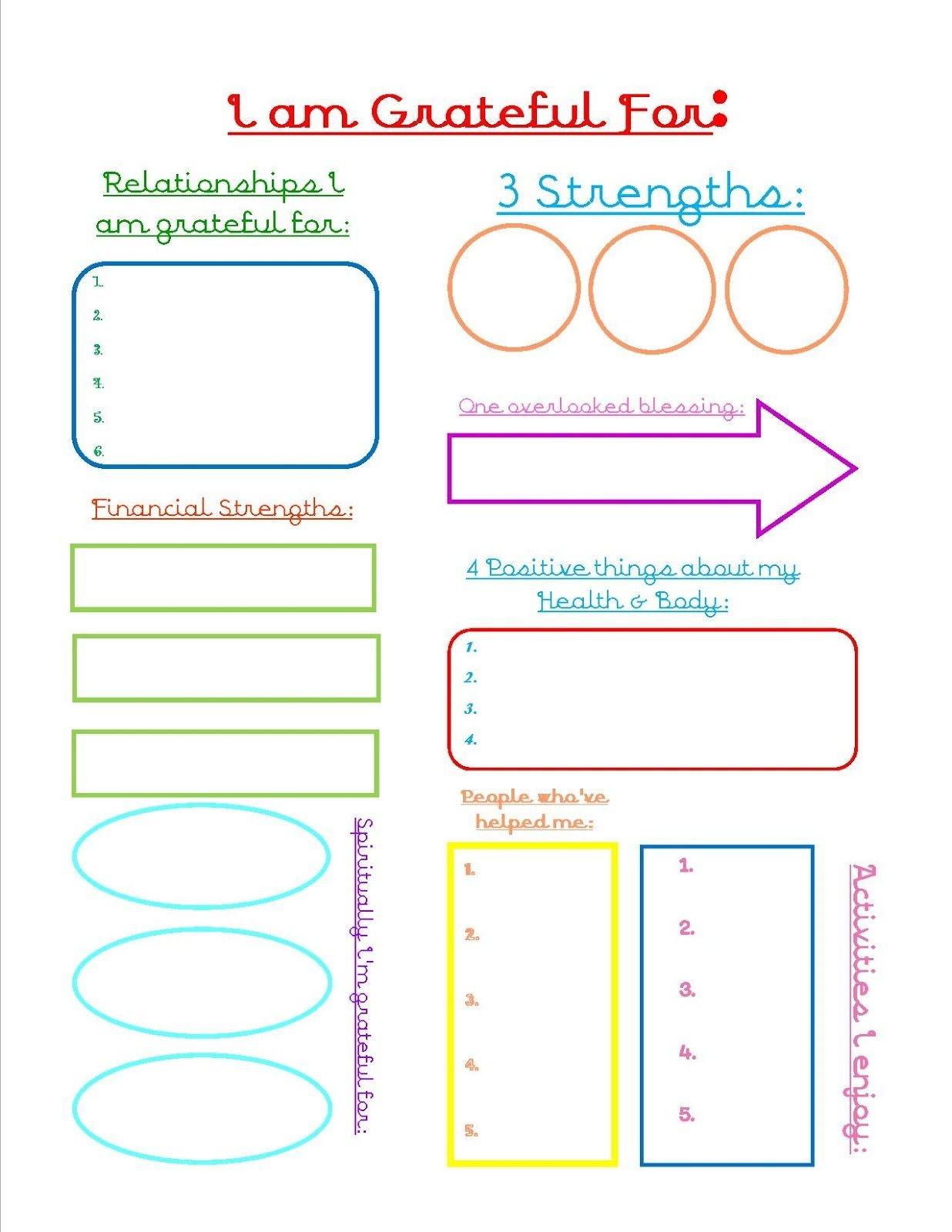 Grateful Journal Sheet | Encouragement | Counseling Activities - Free Printable Gratitude Worksheets