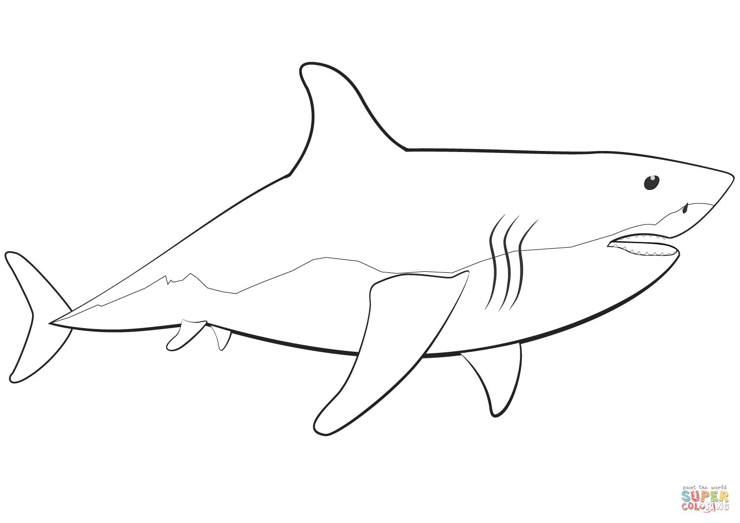 Great White Shark Coloring Page | Free Printable Coloring Pages - Free Printable Great White Shark Coloring Pages