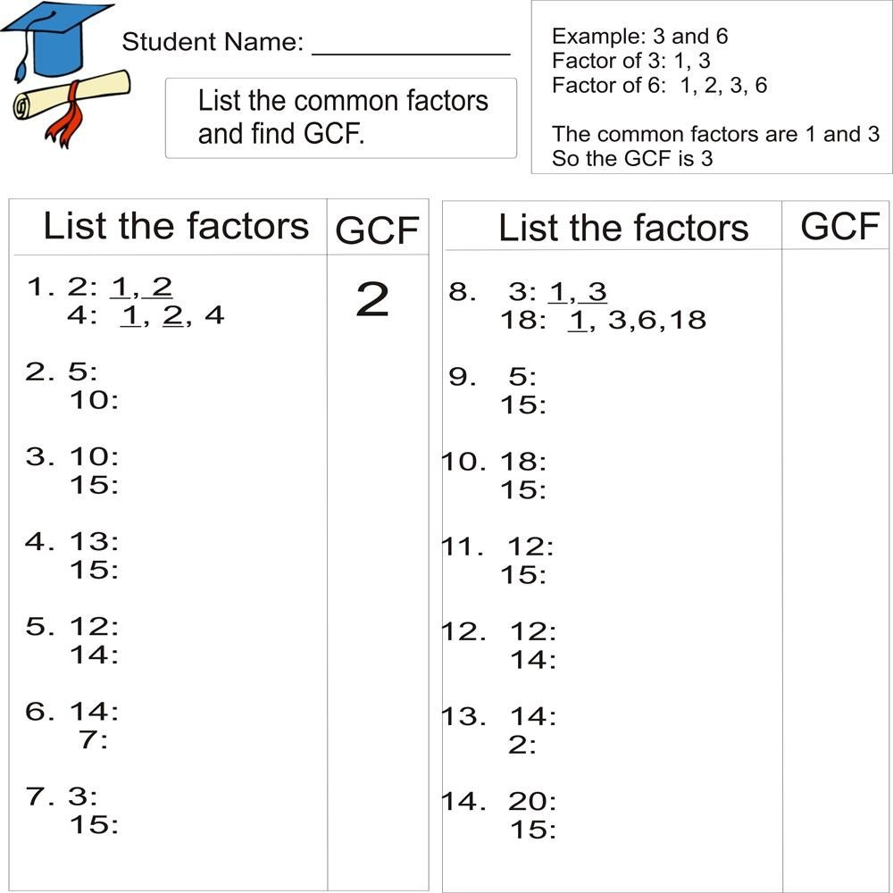 Greatest Common Factor 1To 20 (From Study Village Website. . .great - Free Printable Lcm Worksheets