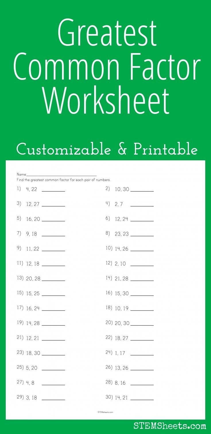 Greatest Common Factor Worksheet - Customizable And Printable   Math - Free Printable Lcm Worksheets