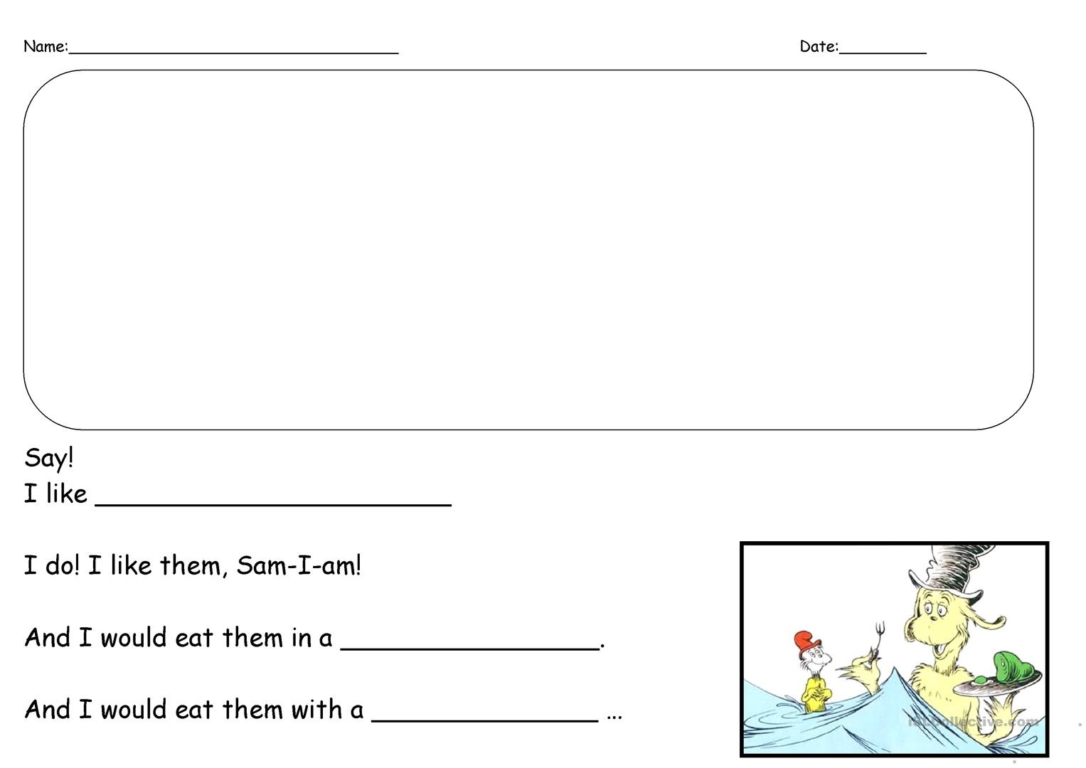 Green Eggs And Ham Writing Prompt Worksheet - Free Esl Printable - Green Eggs And Ham Free Printables
