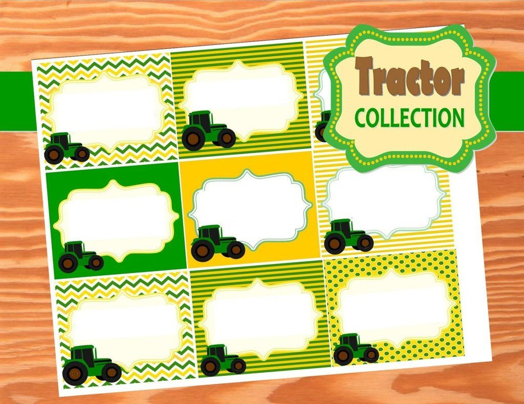Green Tractor Party- Farm Party- Tractor Party- Food Labels | Green - Free Printable John Deere Food Labels
