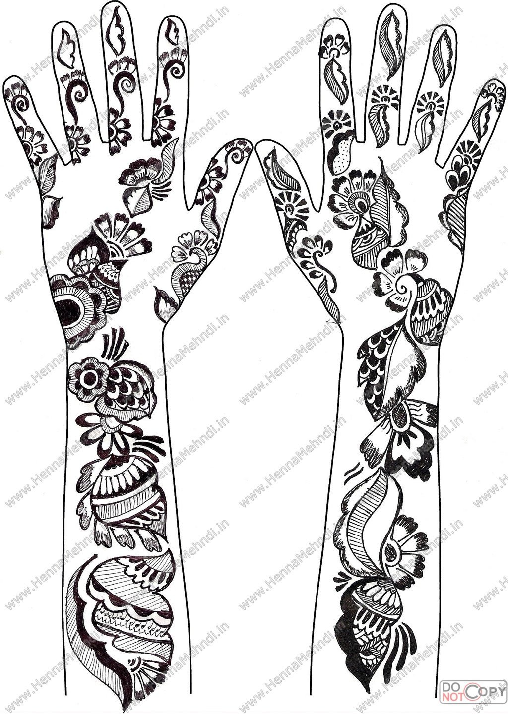 Grey Ink Henna Tattoos Designs For Both Arm - Free Printable Henna Tattoo Designs