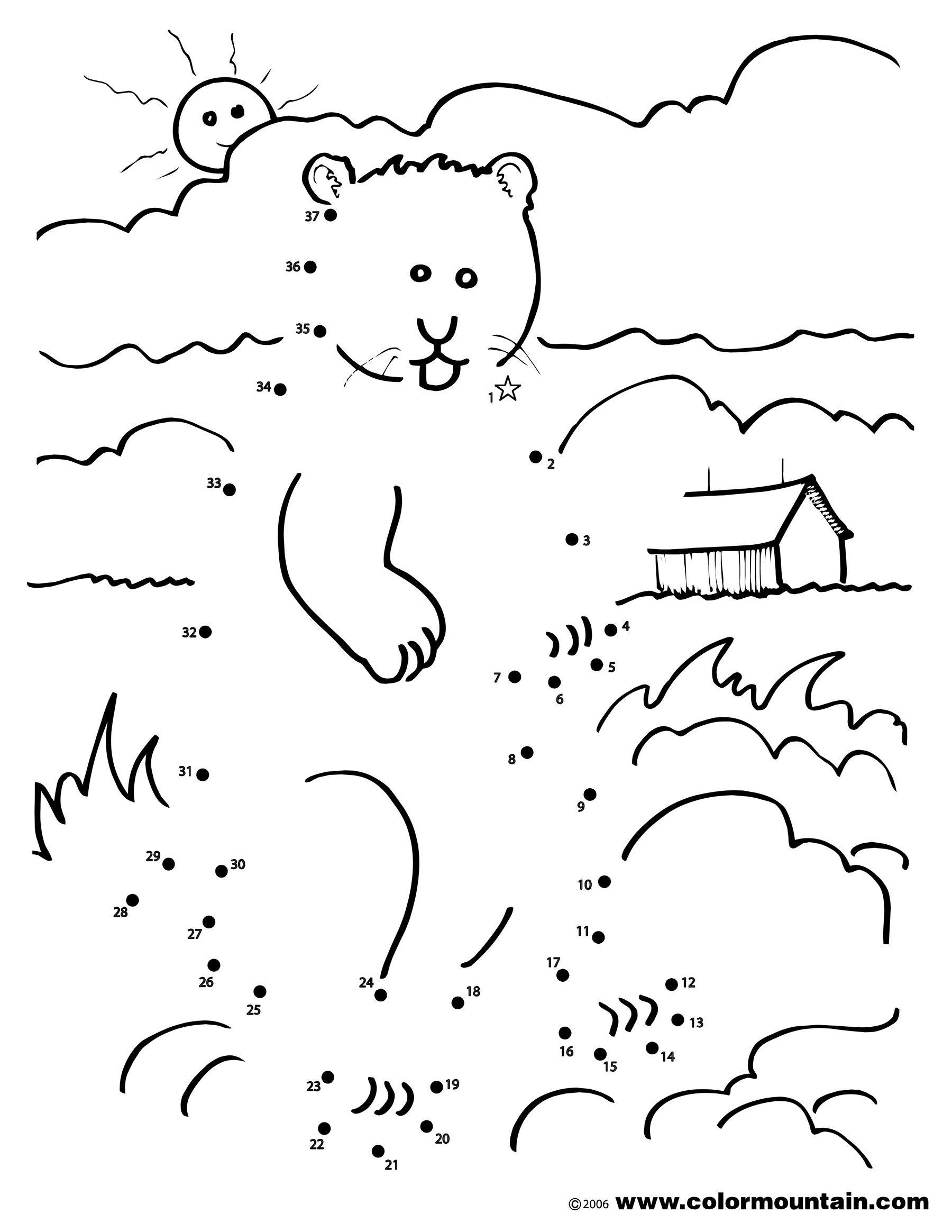 Groundhog Coloring Dot To Dot Coloring Page | Happy Groundhog Day - Groundhog Day Coloring Pages Free Printable