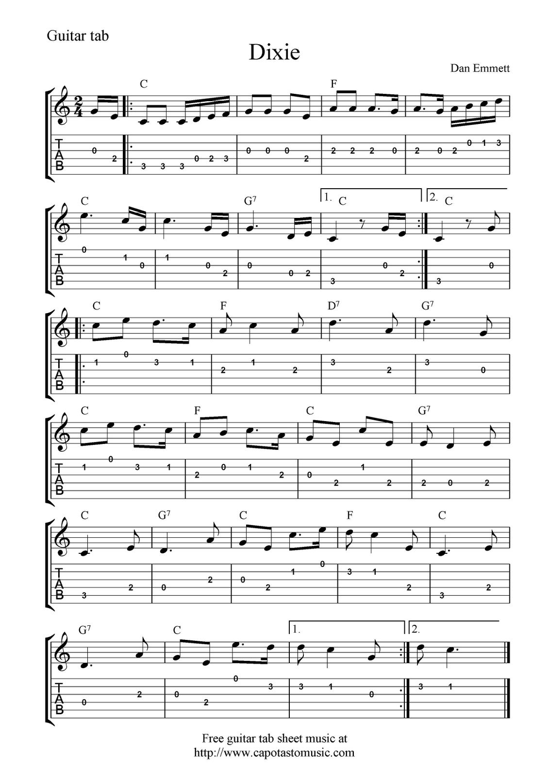 Guitar Music Sheets For Beginners   Free Guitar Tab Sheet Music - Free Guitar Sheet Music For Popular Songs Printable