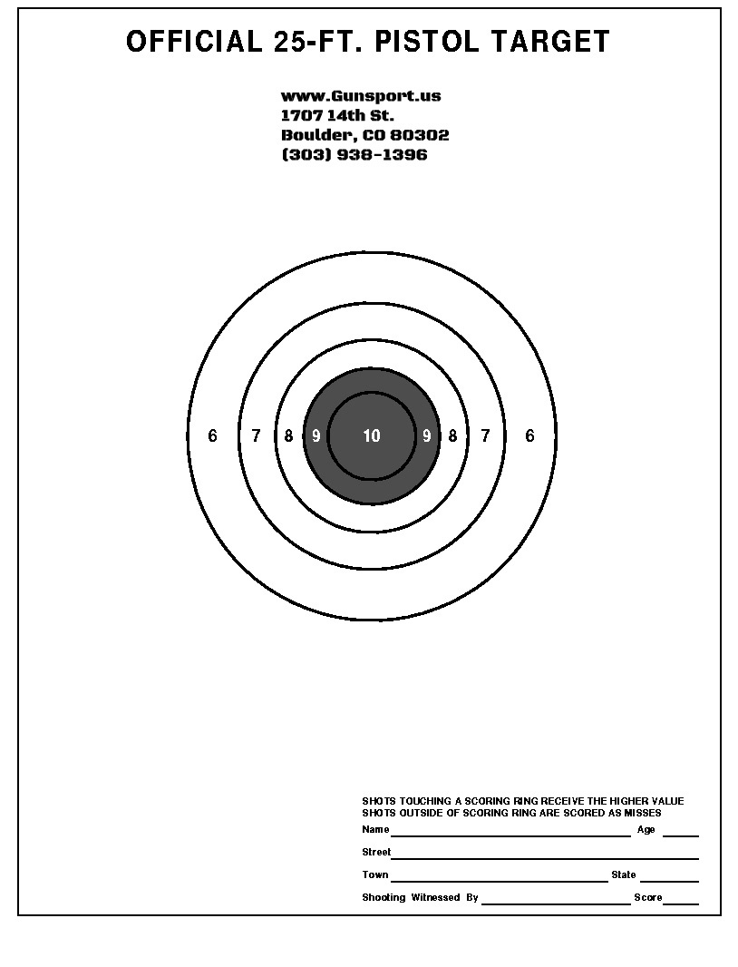 Gunsport Of Colorado | Want To Download A Target To Use? Be Our Guest! - Free Printable Nra 25 Targets