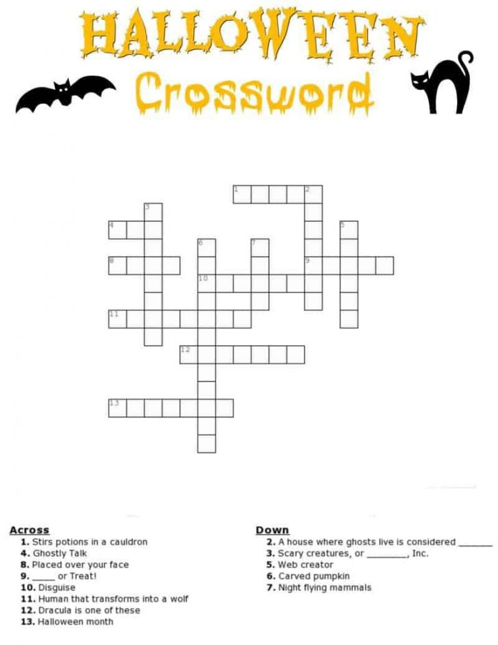 Halloween Crossword Printable Free