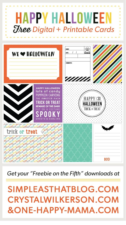 Halloween Journaling + Filler Cards - Free Printable Halloween Cards