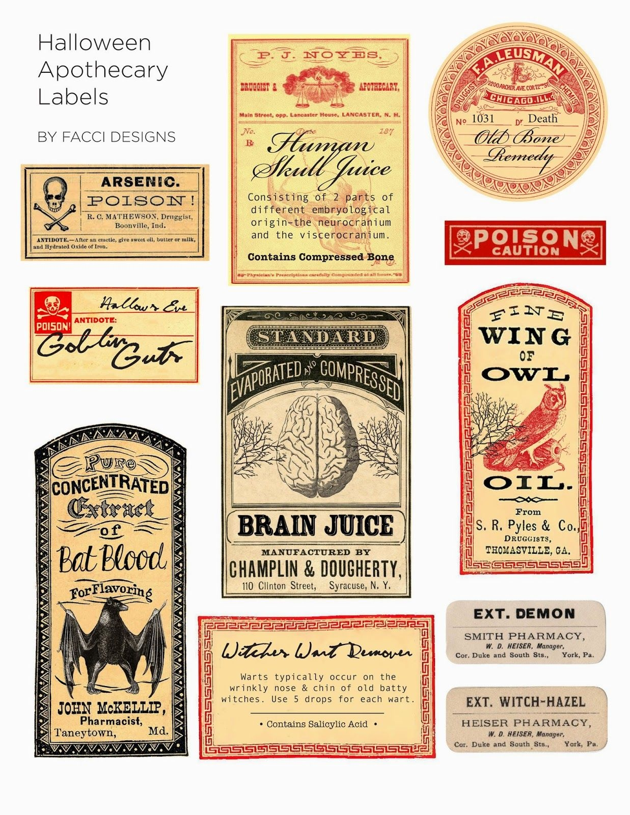 Halloween Love: Spooky Apothecary Labels Free Printable | Halloween - Free Printable Halloween Bottle Labels