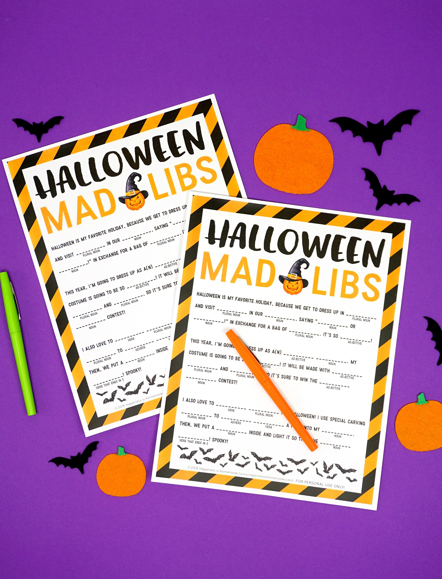 Halloween Mad Libs Printable - Happiness Is Homemade - Free Printable Halloween Homework Pass