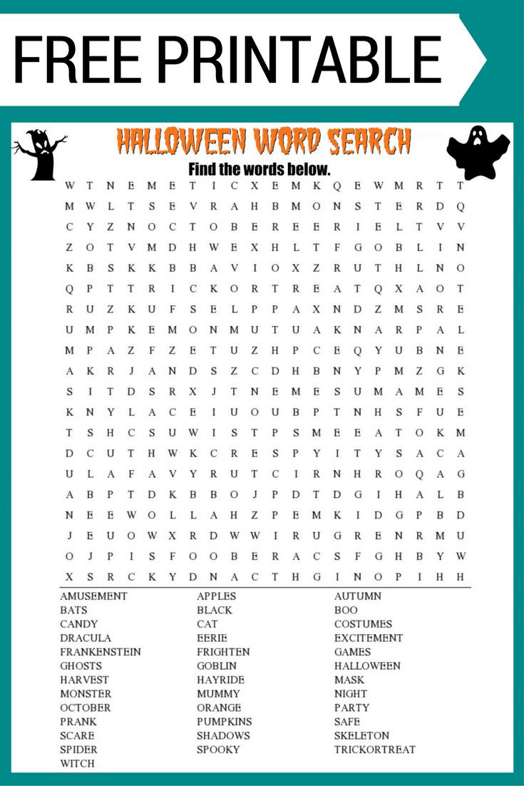 Halloween Word Search Printable Worksheet - Free Printable Halloween Word Search