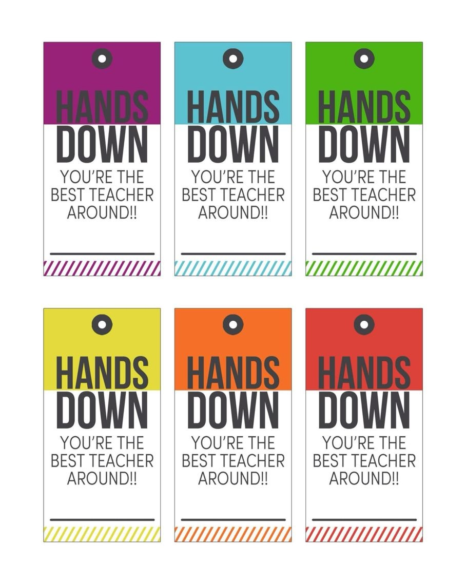 """Hands Down"""" Printable Gift Tags For Teachers 