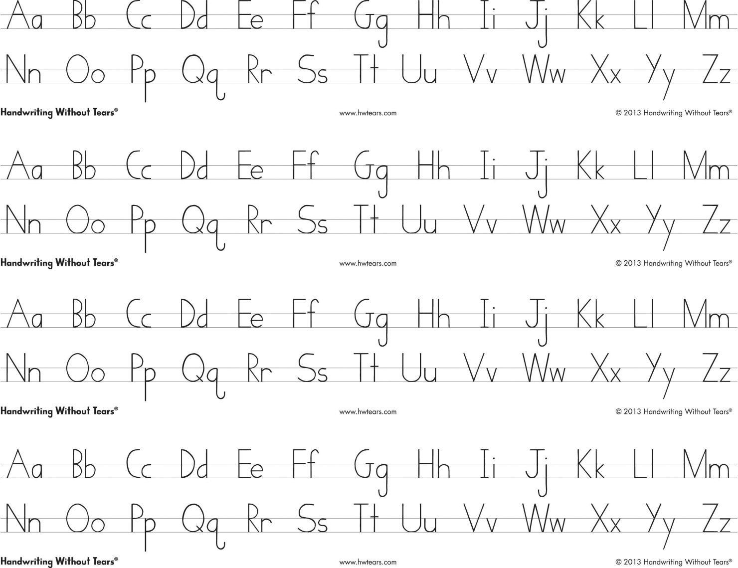 Handwriting Without Tears Print Alphabet Desk Sheets, 4 Strips Per - Handwriting Without Tears Worksheets Free Printable