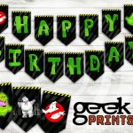 Happy Birthday Banner With Ghostbusters Theme Printable | Etsy   Ghostbusters Free Printables