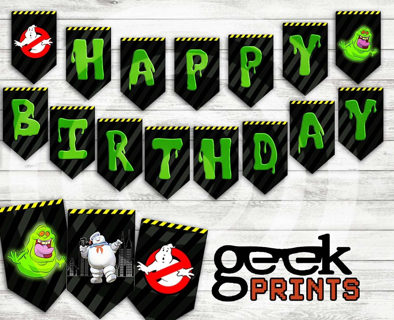 Happy Birthday Banner With Ghostbusters Theme Printable   Etsy - Ghostbusters Free Printables