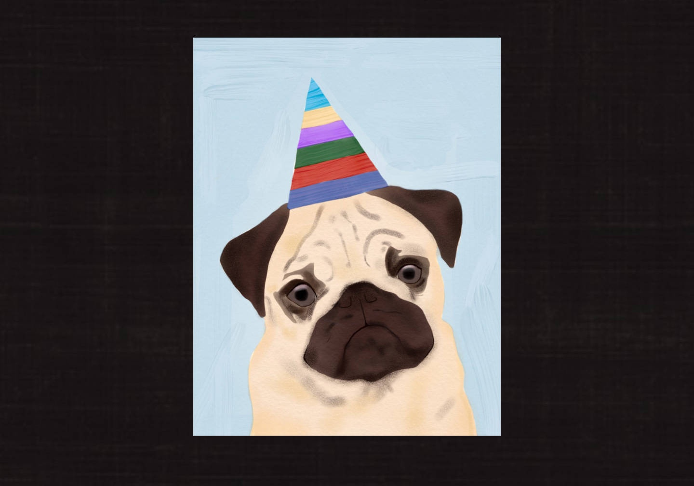 Happy Birthday Card Pug Dog Instant Download Pdf Digital | Etsy - Free Printable Pug Birthday Cards