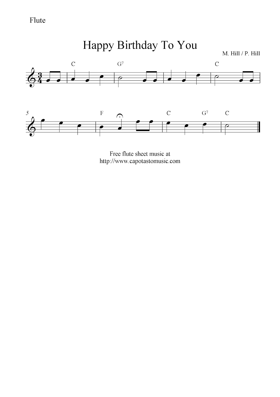 Happy Birthday To You, Free Flute Sheet Music Notes - Free Printable Flute Music