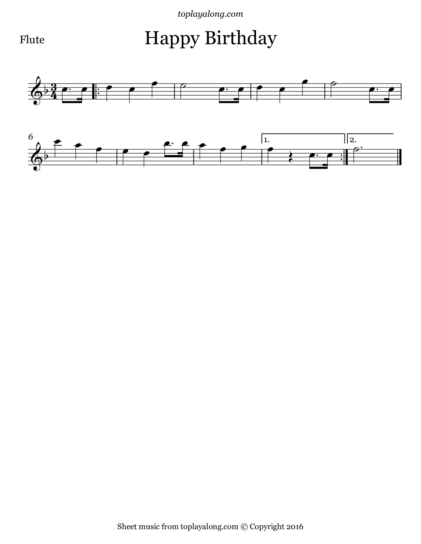 Happy Birthday – Toplayalong - Free Printable Flute Music