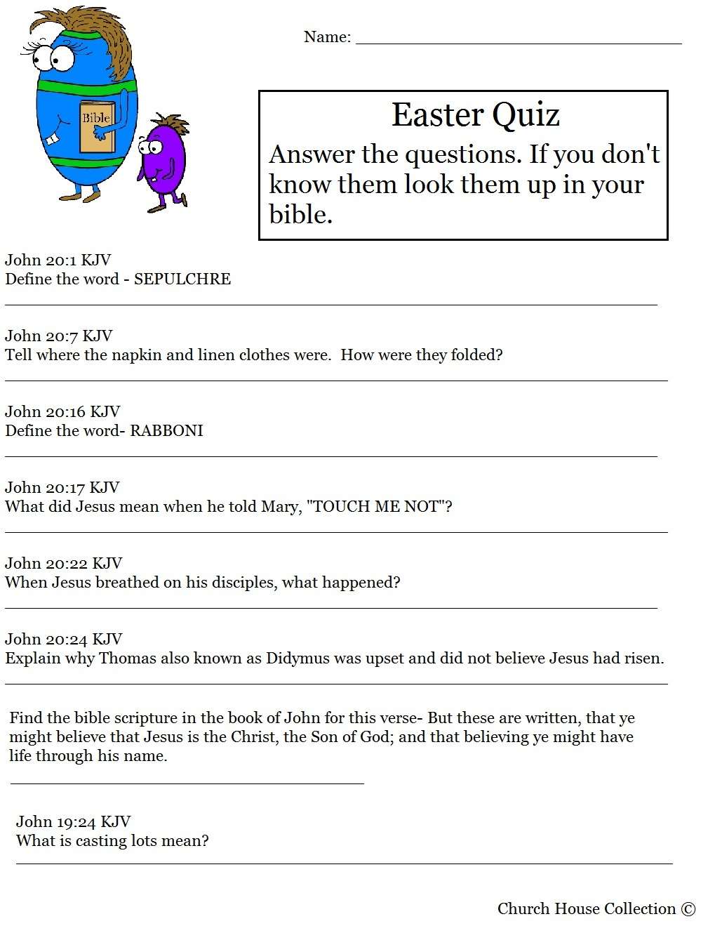 Hard Easter Quiz On Resurrection Of Jesus - Free Printable Bible Trivia Questions And Answers