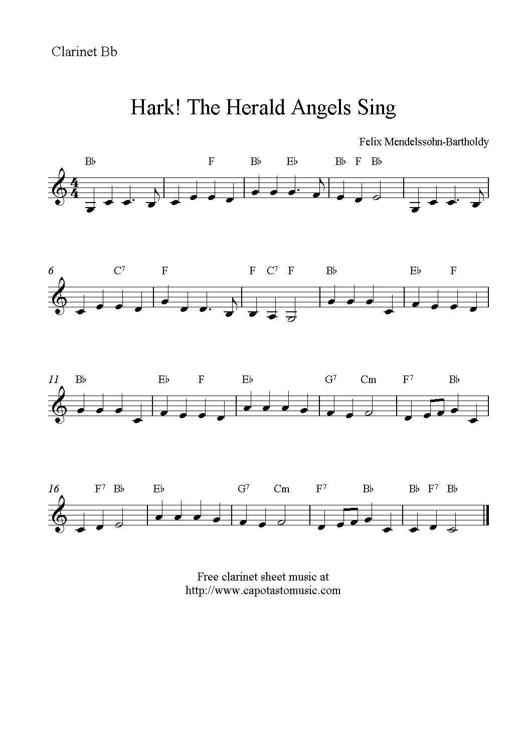 Hark! The Herald Angels Sing, Free Christmas Clarinet Sheet Music Notes - Free Printable Christmas Sheet Music For Clarinet