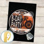 Harley Davidson Birthday Party Invitation Motorcycle | Etsy   Free Printable Harley Davidson Birthday Invitations
