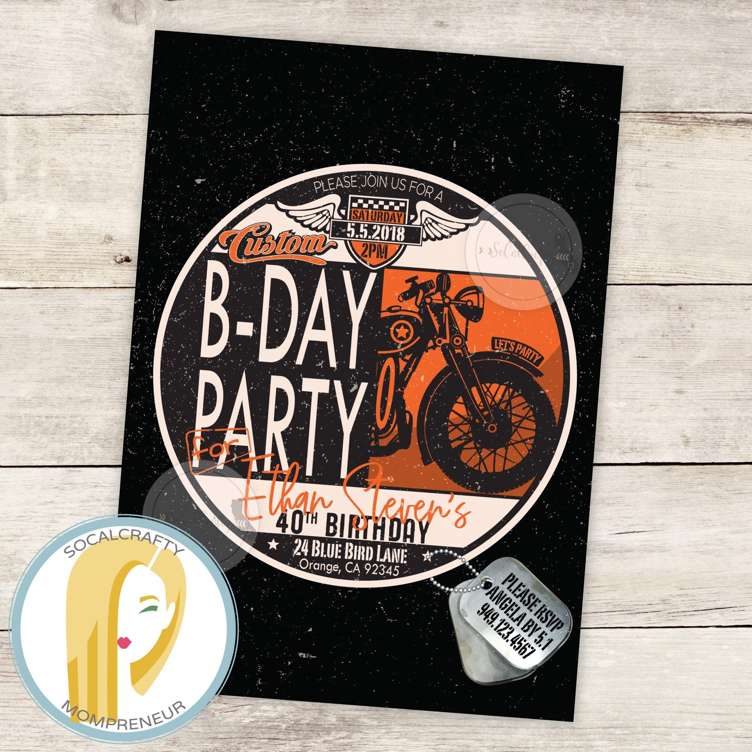 Harley Davidson Birthday Party Invitation Motorcycle | Etsy - Free Printable Harley Davidson Birthday Invitations