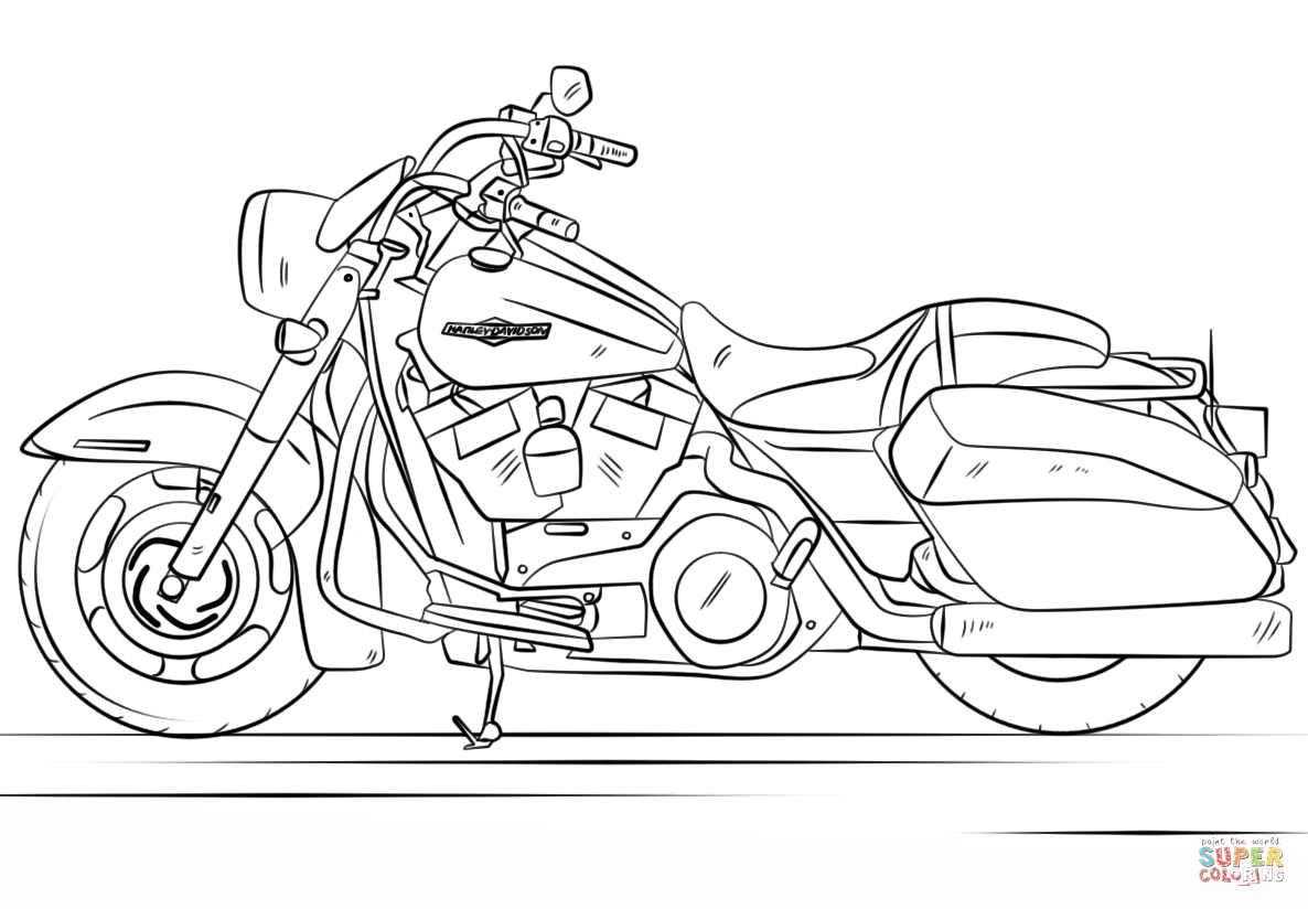 Harley Davidson Road King Coloring Page | Free Printable Coloring Pages - Free Printable Harley Davidson Coloring Pages