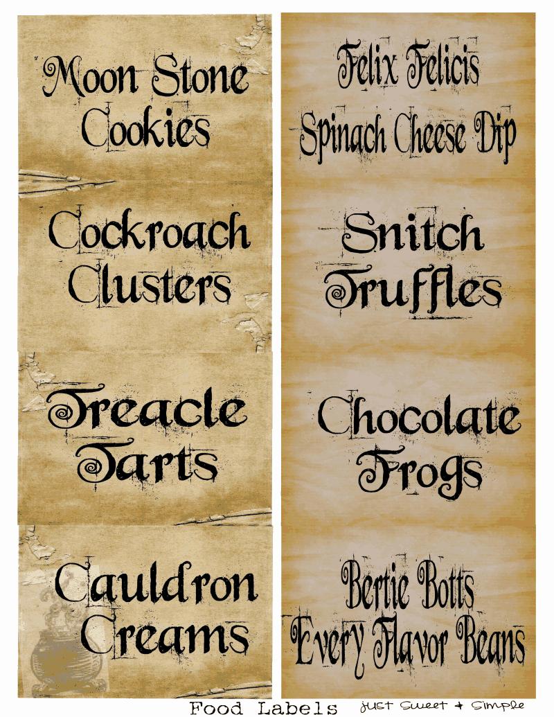 Harry Potter Food &drink Labels.pdf | Holidays | Harry Potter Candy - Free Harry Potter Printable Signs