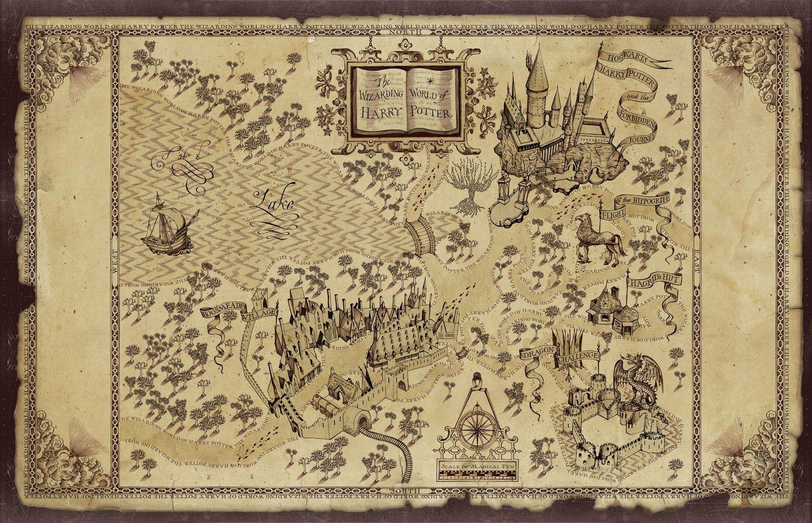 Harry Potter Map   Treasure Map Inspiration   Harry Potter - Free Printable Marauders Map