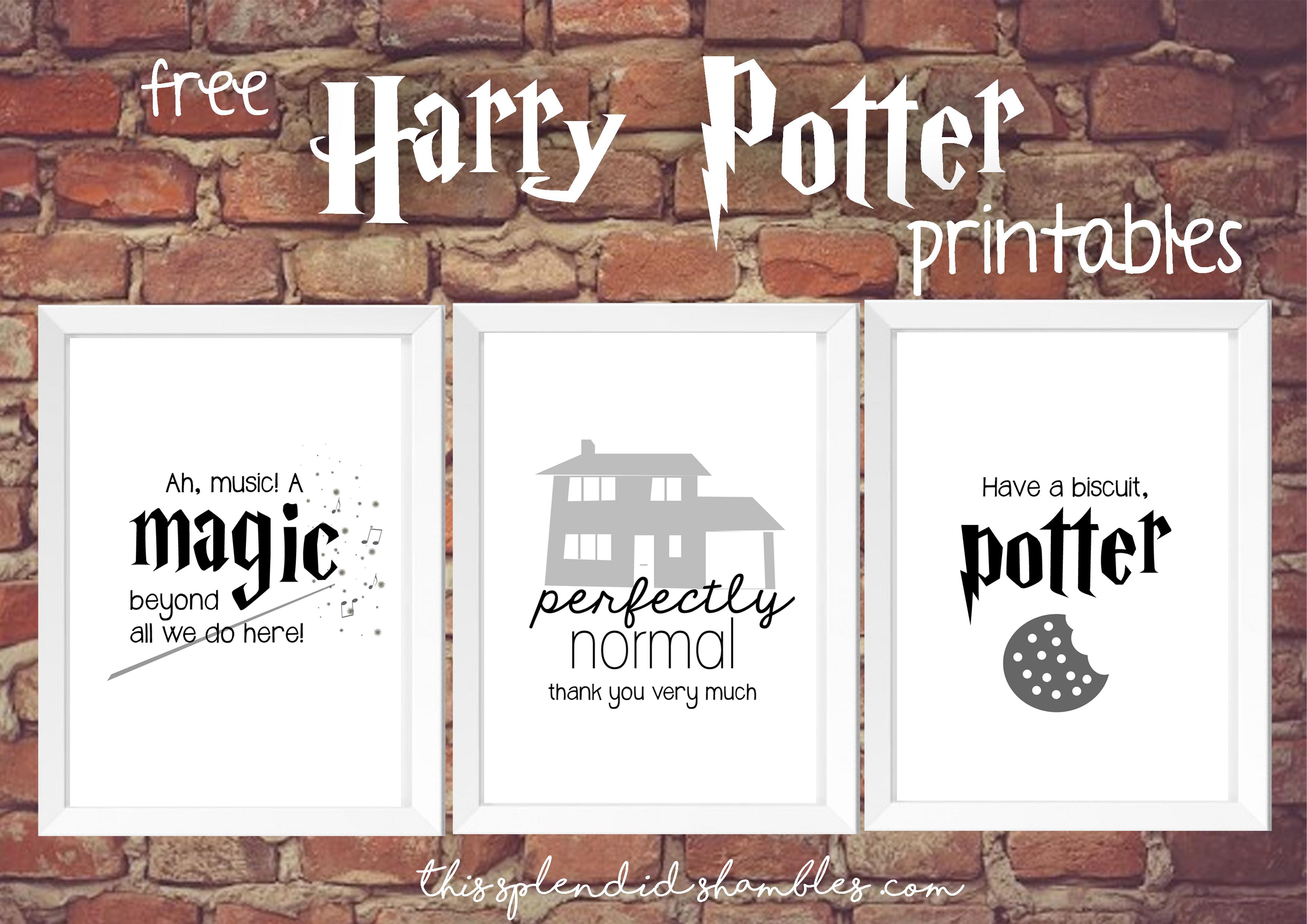 Harry Potter Week - 3 Free Printables - This Splendid Shambles - Free Harry Potter Printables
