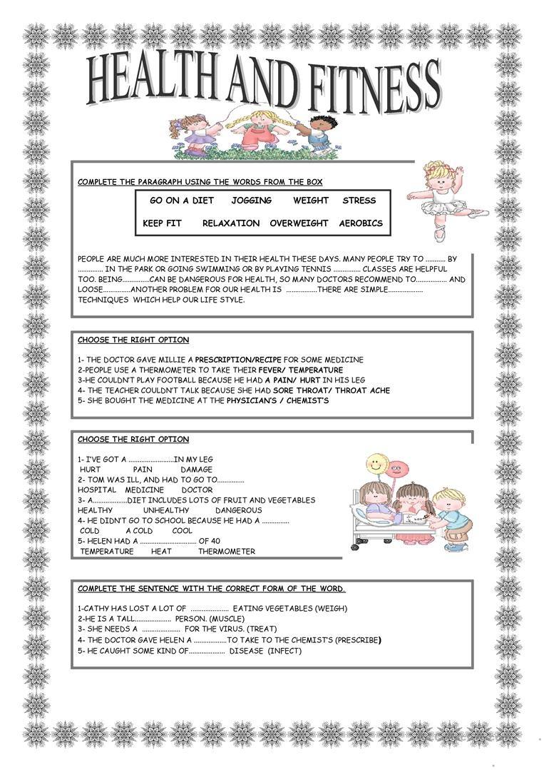 Health And Fitness Worksheet - Free Esl Printable Worksheets Made - Free Printable Fitness Worksheets