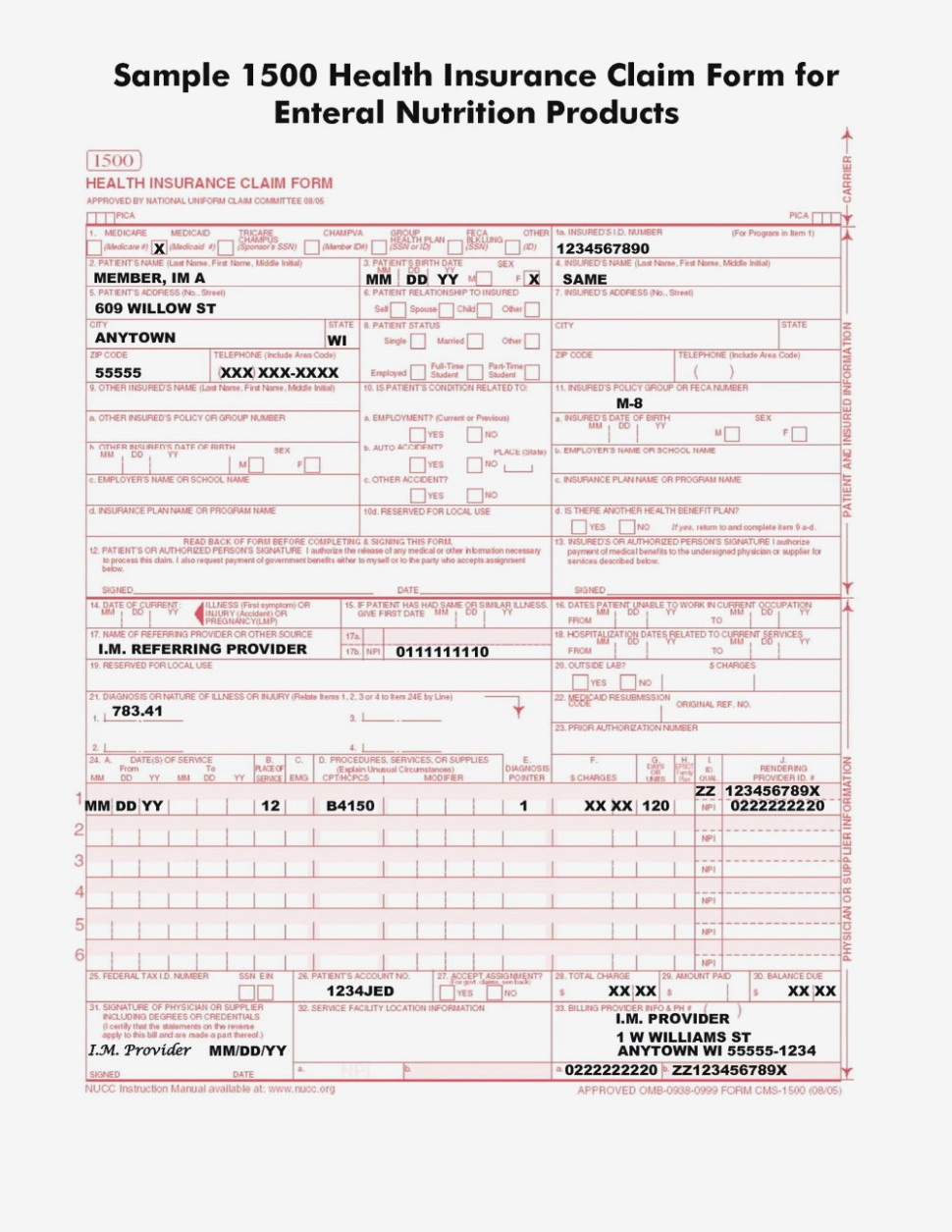 Health Insurance Claim Form 13 Fillable   Resume Examples – Free - Free Printable Cms 1500 Form 02 12