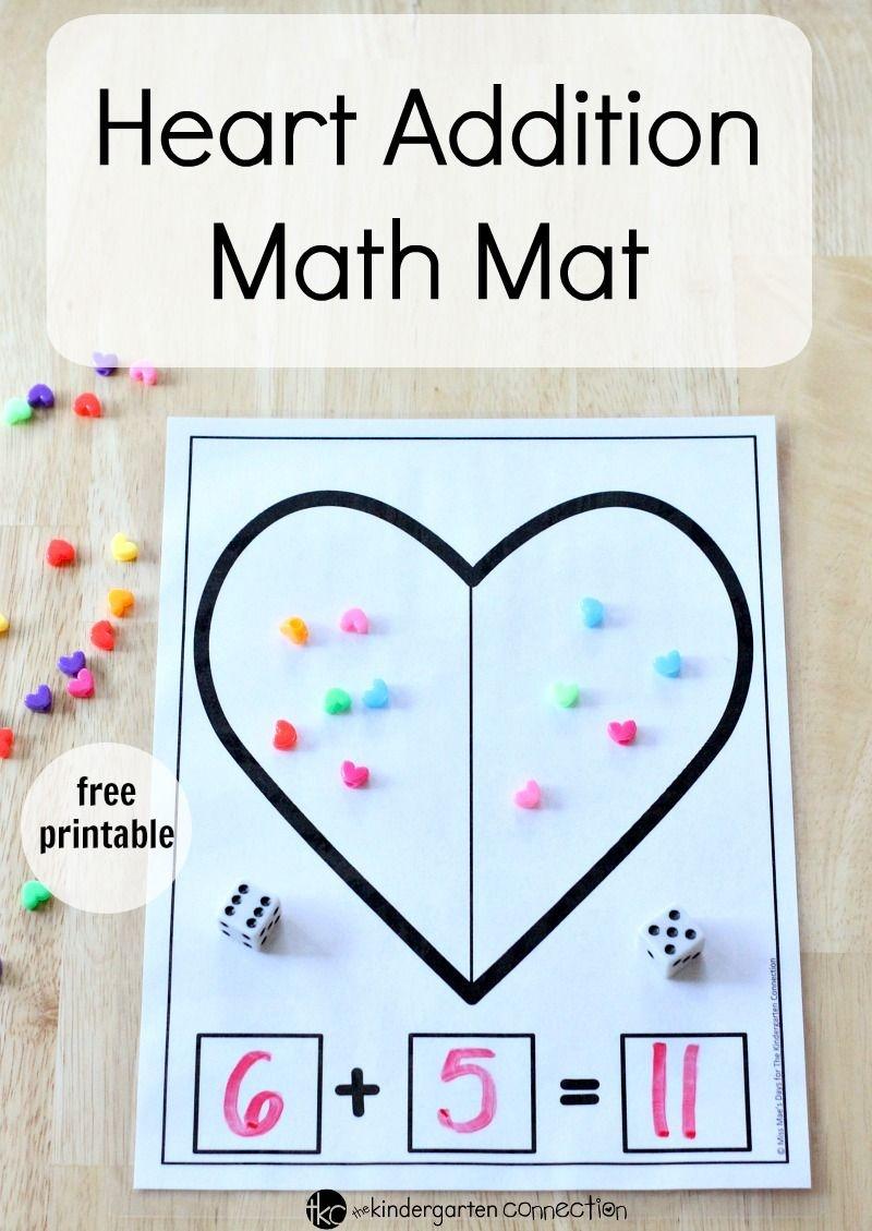 Heart Addition Math Mat   Kinderland Collaborative   Kindergarten - Free Printable Valentine Activities For Kindergarten