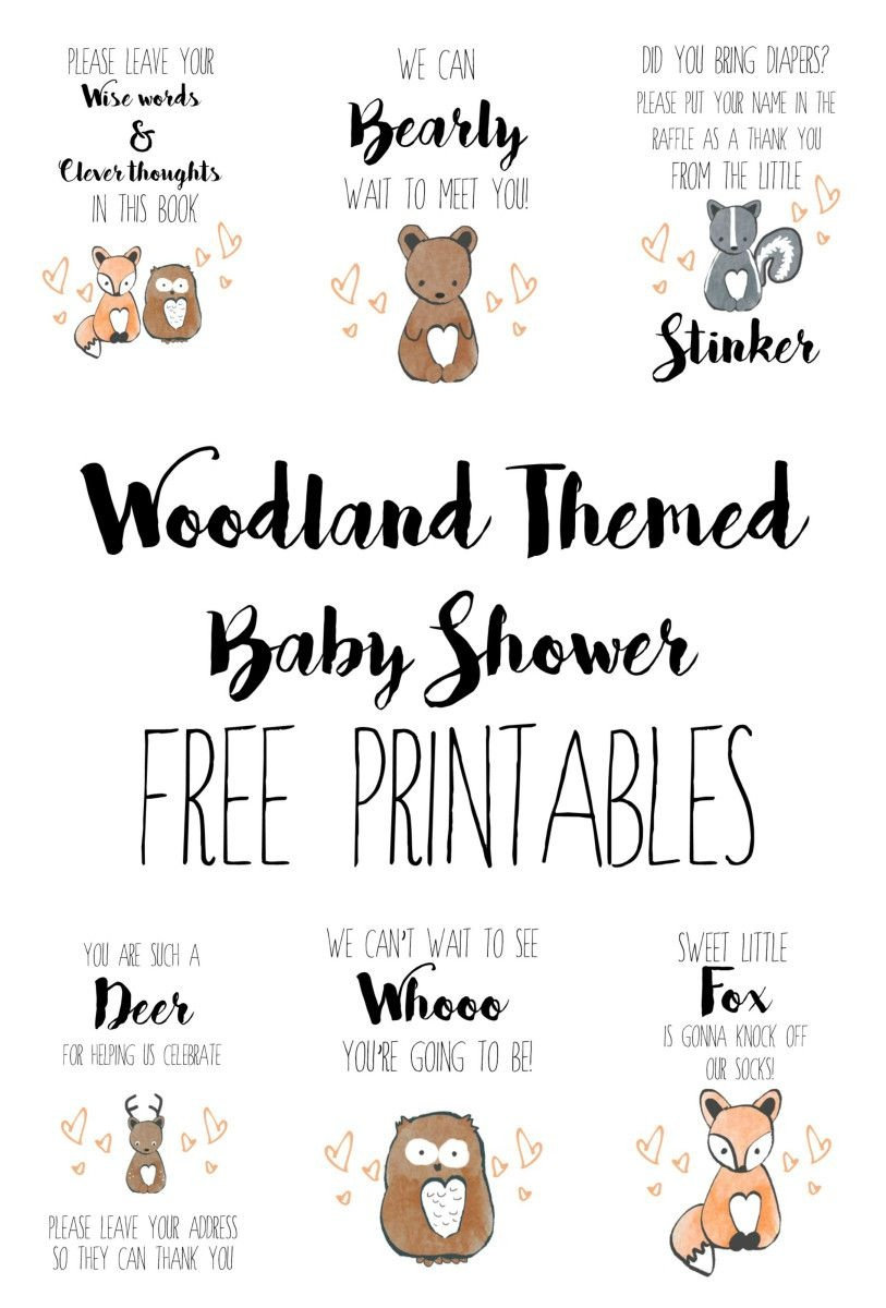 Hello, All! I Am Currently In The Process Of Organizing A Lovely - Free Woodland Baby Shower Printables
