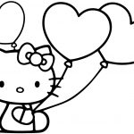 Hello Kitty Color Pages Hello Kitty With Heart Balloons Coloring   Free Printable Pictures Of Balloons