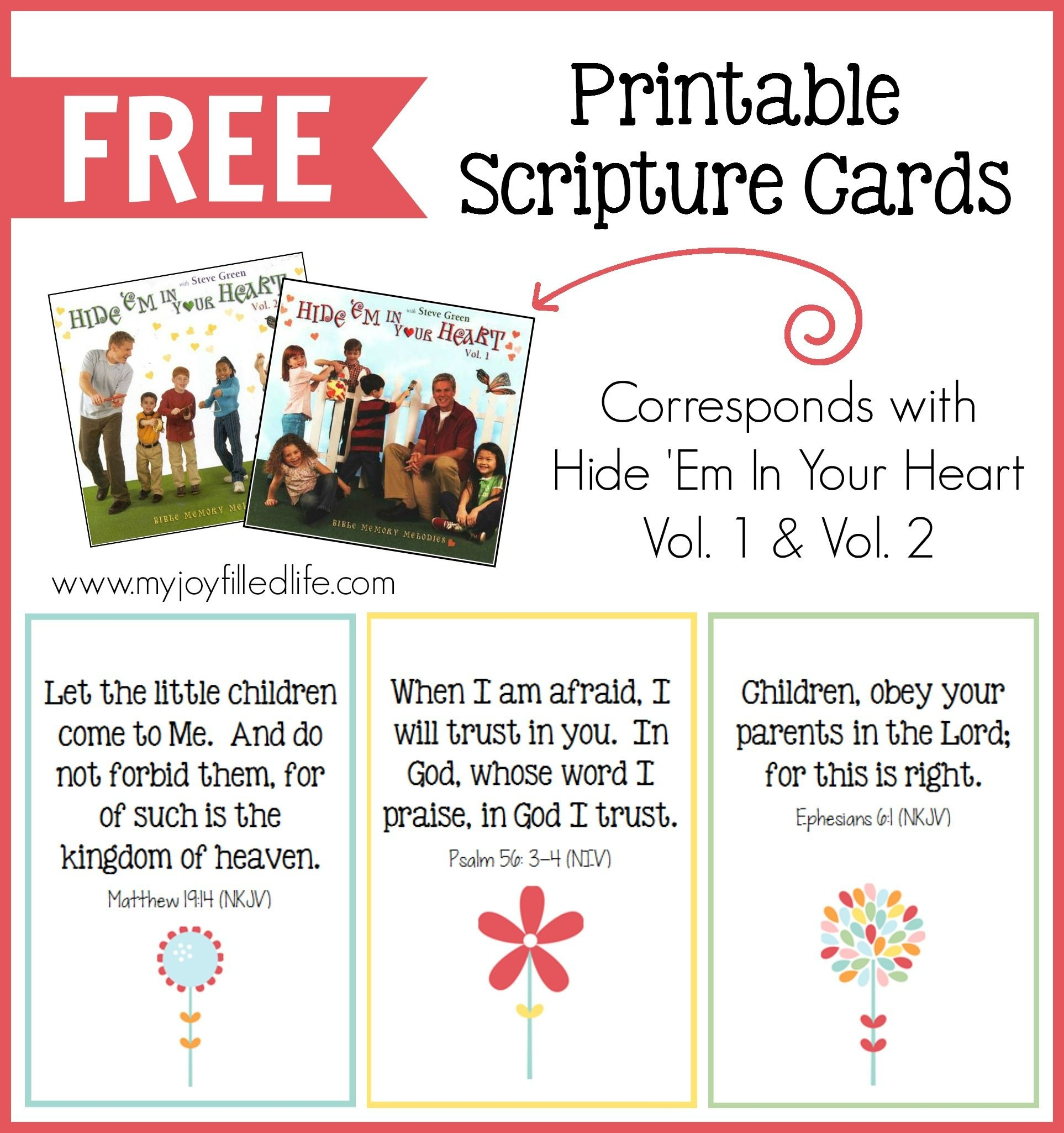Hide 'em In Your Heart Scripture Cards {Free Printable} | Homeschool - Free Printable Bible Verses For Children