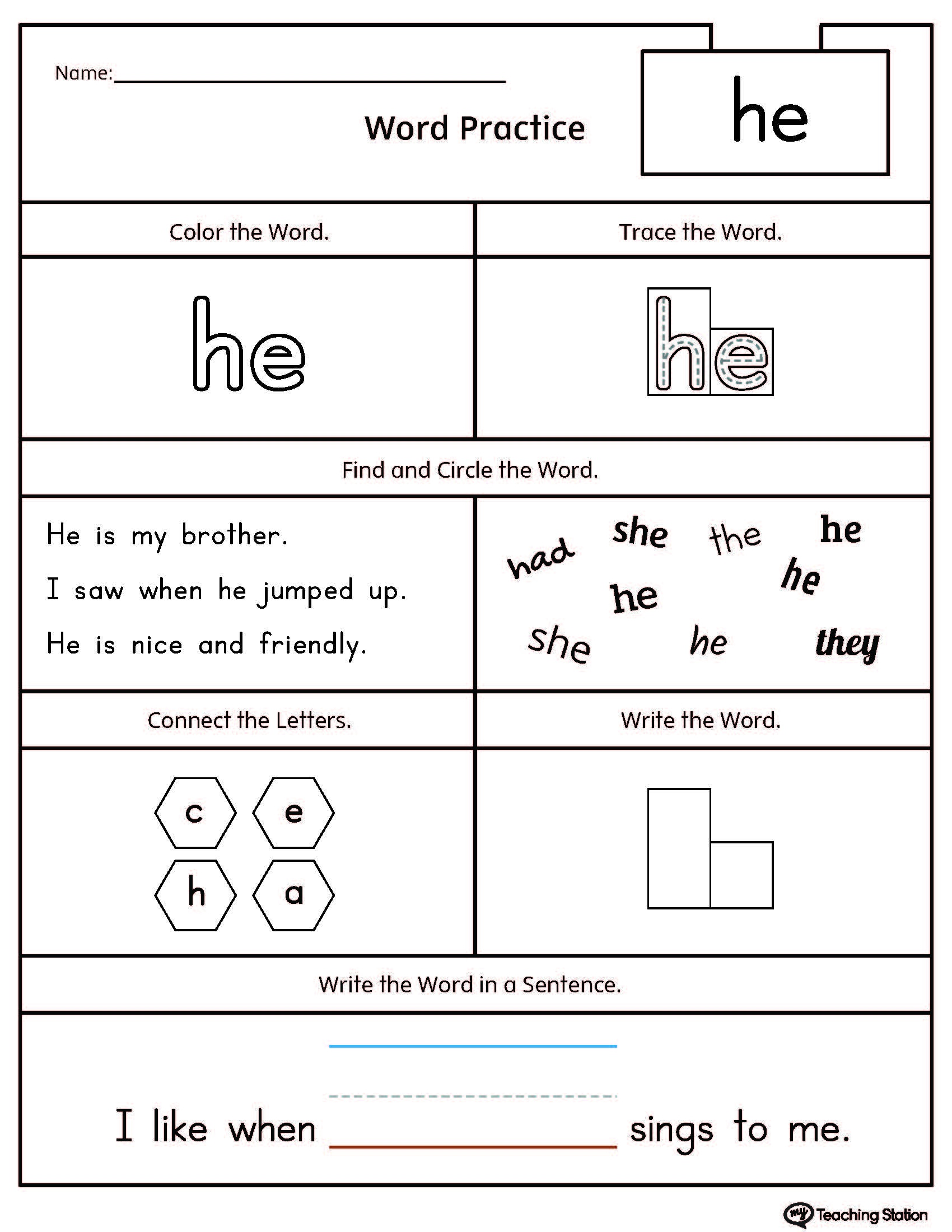 High Frequency Words Printable Worksheets | Myteachingstation - Free Sight Word Printables