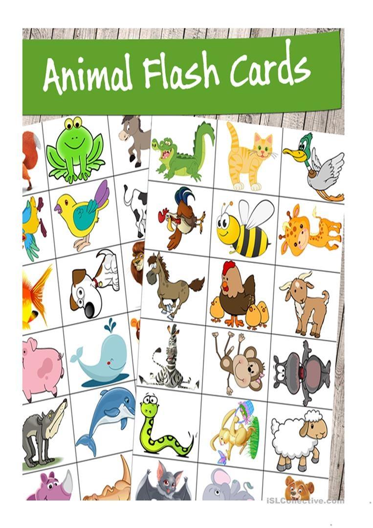 High Quality Printable Animal Flash Cards Worksheet - Free Esl - Free Printable Animal Cards