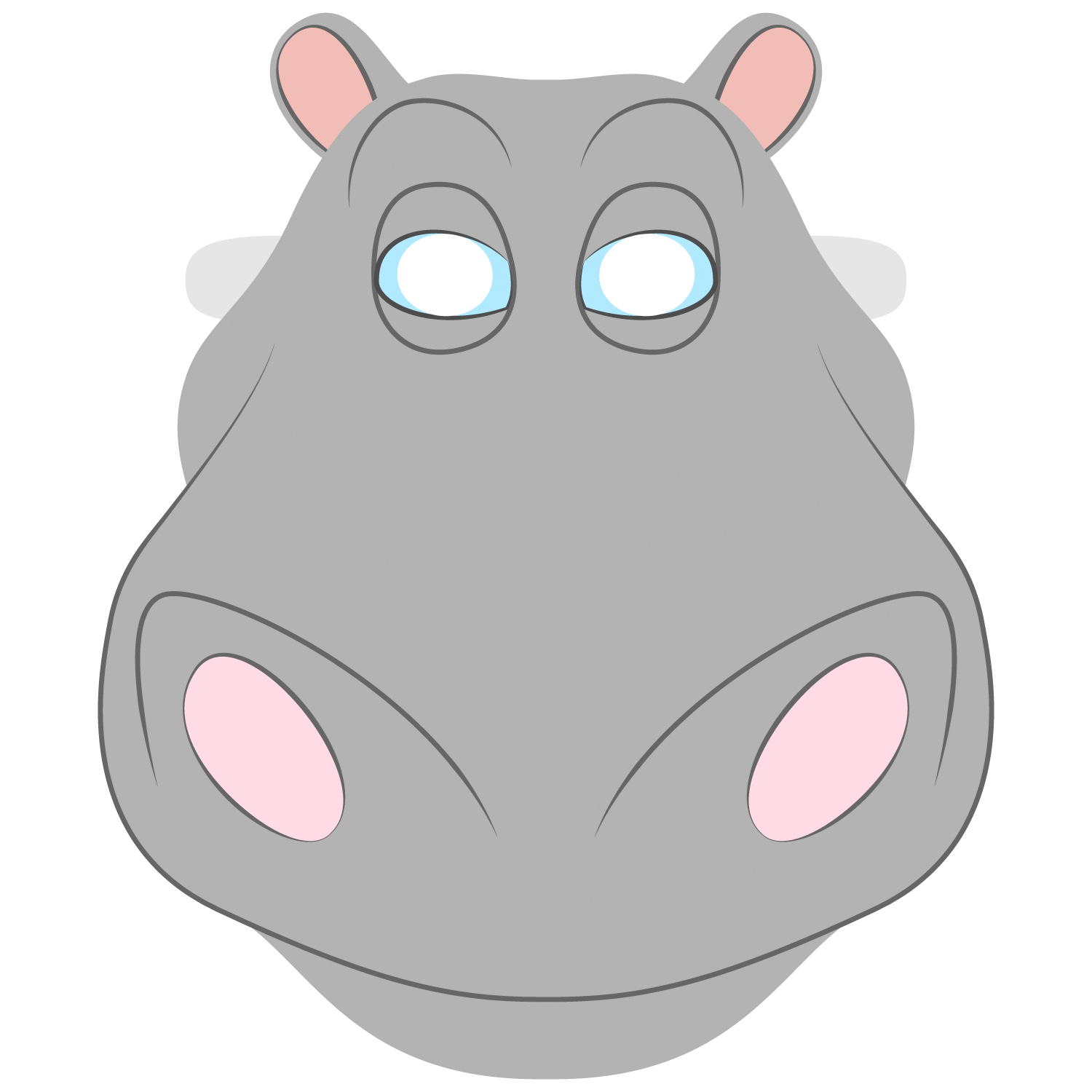 Hippo Mask Template   Free Printable Papercraft Templates - Free Printable Hippo Mask