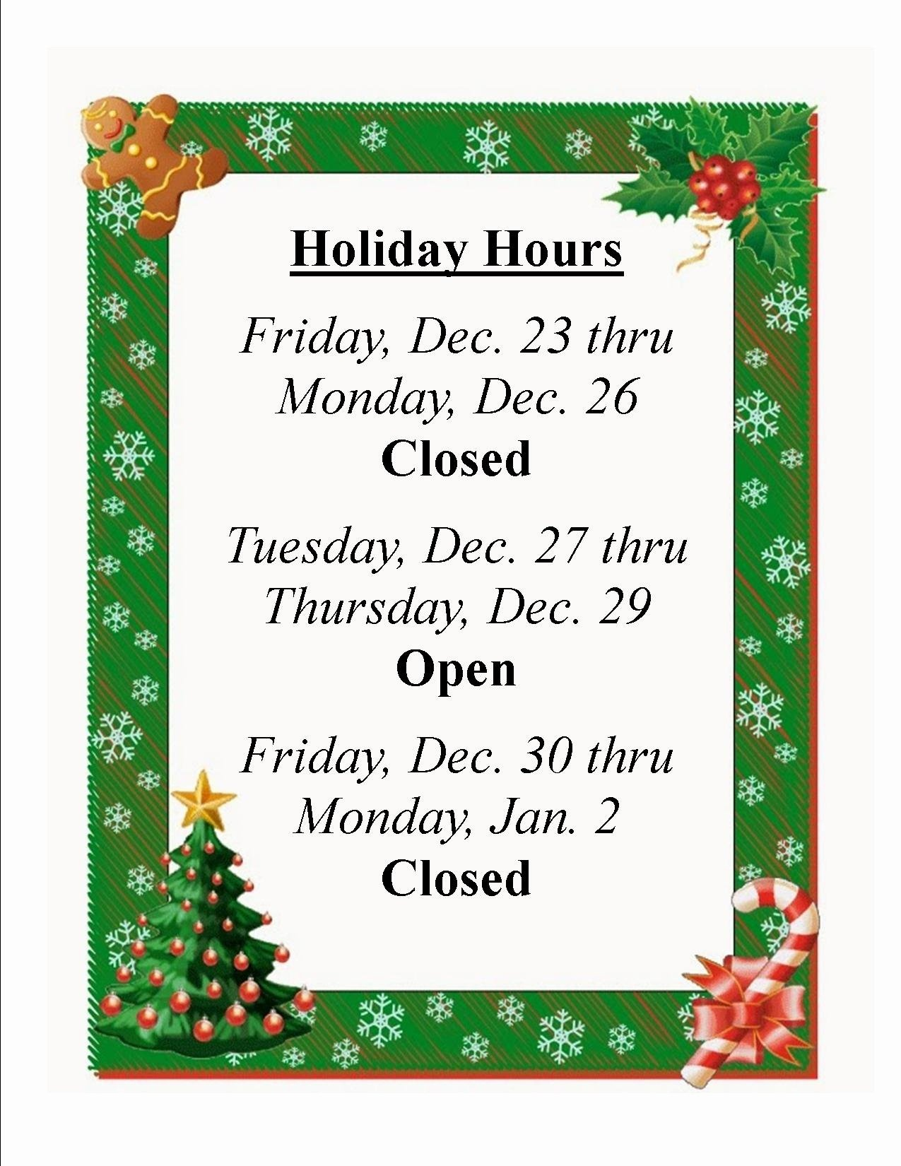 Holiday Closed Sign Template | Template Modern Design - Free Printable Holiday Signs Closed